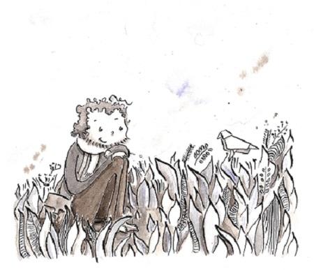 Coenguen assit dans l'herbe