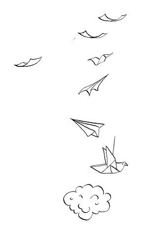 Avion et oiseau en papier